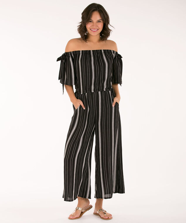 Tie-Sleeve Striped Jumpsuit, Black/Milkshake, hi-res