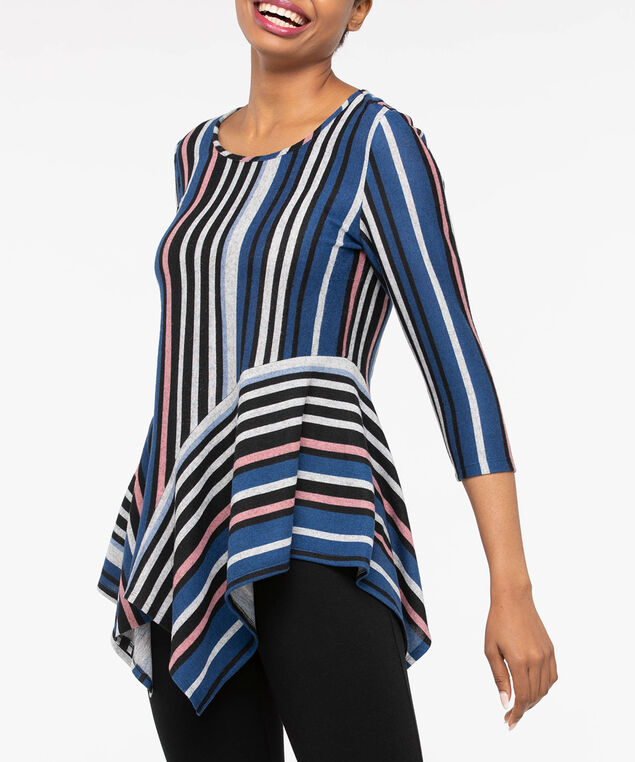 3/4 Sleeve Handkerchief Hem Top, Black/Grey/Blue/Pink, hi-res