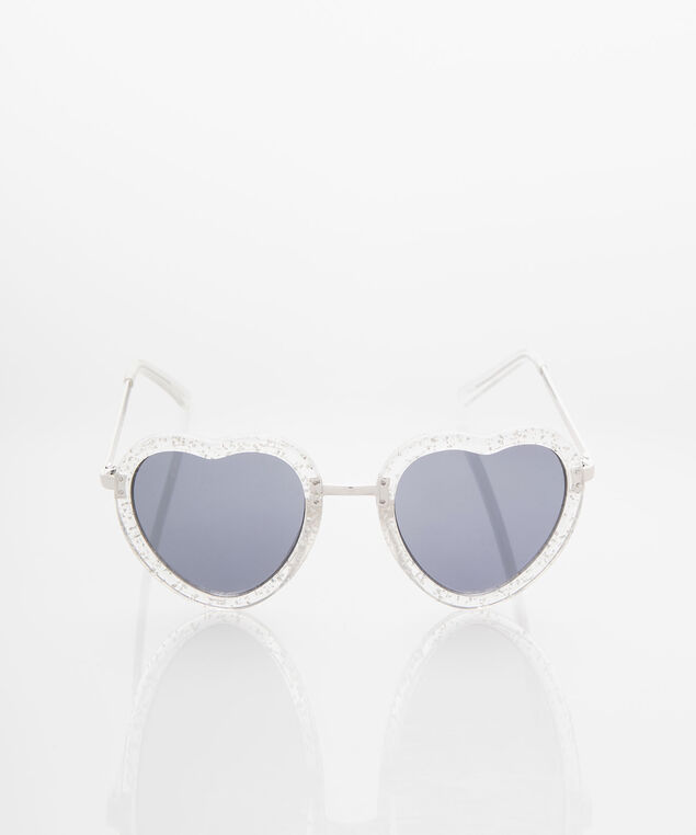 Sparkly Heart Shaped Sunglasses, Rhodium/Grey, hi-res