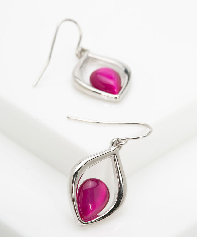 Leaf Shaped Cateye Earring, Rhodium/Bright Pink, hi-res