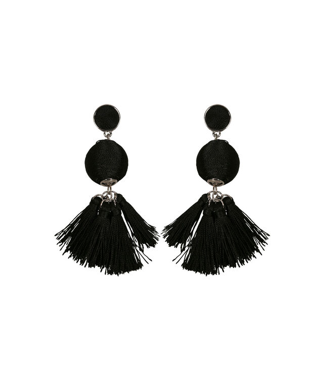 Thread-Wrapped Ball & Tassel Earring, Black/Rhodium, hi-res
