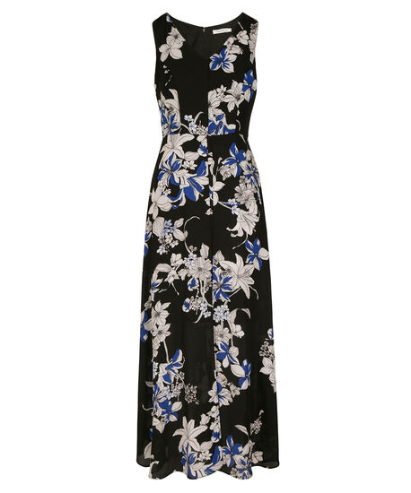 Sleeveless V-Neck High-Low Maxi Dress, Black/Blue Pattern, hi-res