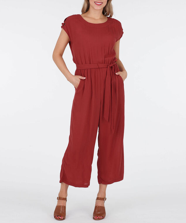 Cold Shoulder Tie Waist Jumpsuit, Burnt Orange, hi-res