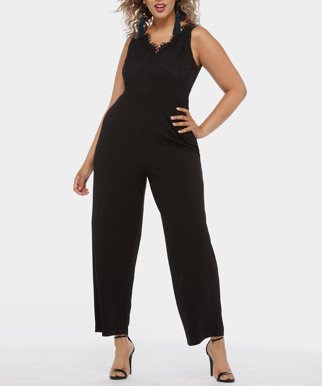 Sleeveless Lace Double-V Jumpsuit, Black, hi-res