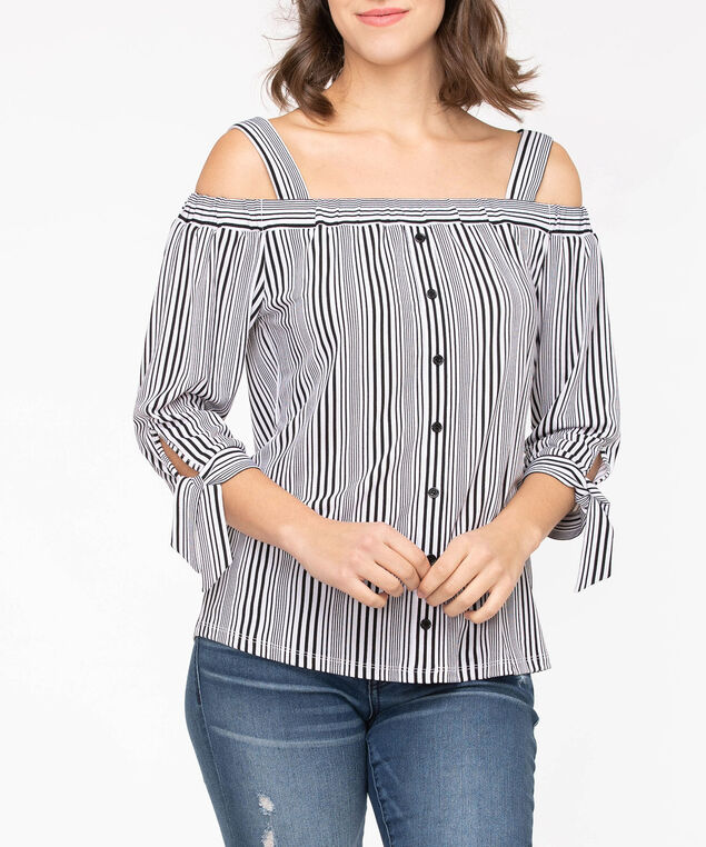 Tie Sleeve Off-The-Shoulder Top, Black/Pearl, hi-res