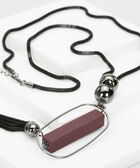 Matte Pendant & Tassel Necklace, Burgundy/Hematite/Black, hi-res