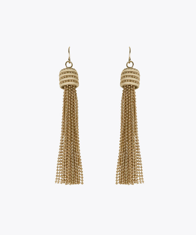 Beaded Tassel Earring, Gold, hi-res