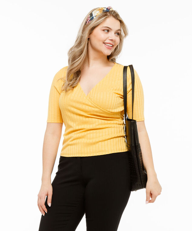 Ribbed Cross Front Top, Gold, hi-res