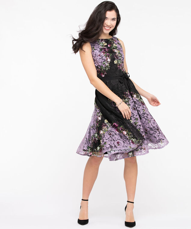 Floral Lace Fit & Flare Dress, Lilac/Black, hi-res