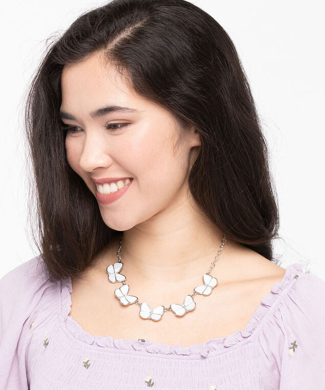 Mother-Of-Pearl Butterfly Necklace, Pearl, hi-res