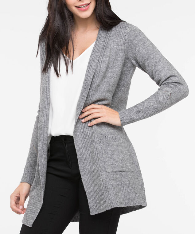 Long Plush Open Cardigan, Light Heather Grey, hi-res