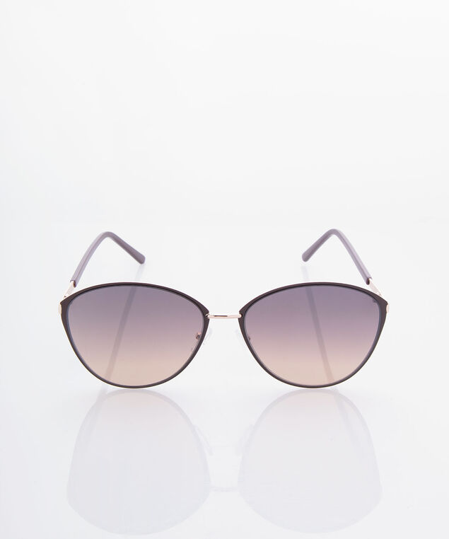 Enamel Frame Cateye Sunglasses, Fig/Rose Gold, hi-res