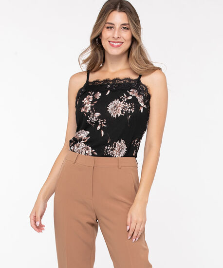 Floral  Lace Trim Strappy Cami, Black/Heathered Camel/Ivory, hi-res