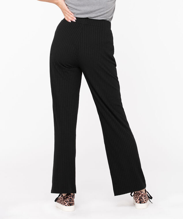 Black Ribbed Wide Leg Pant, Black