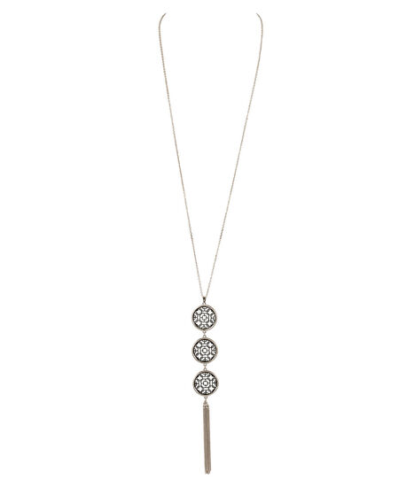 Filigree Medallion & Tassel Necklace, Black/Rhodium, hi-res