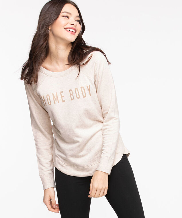 French Terry Slogan Pullover, Oatmeal Mix