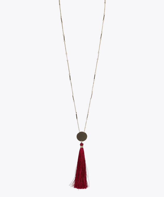 Gold Disc Tassel Necklace, Sangria/Gold, hi-res
