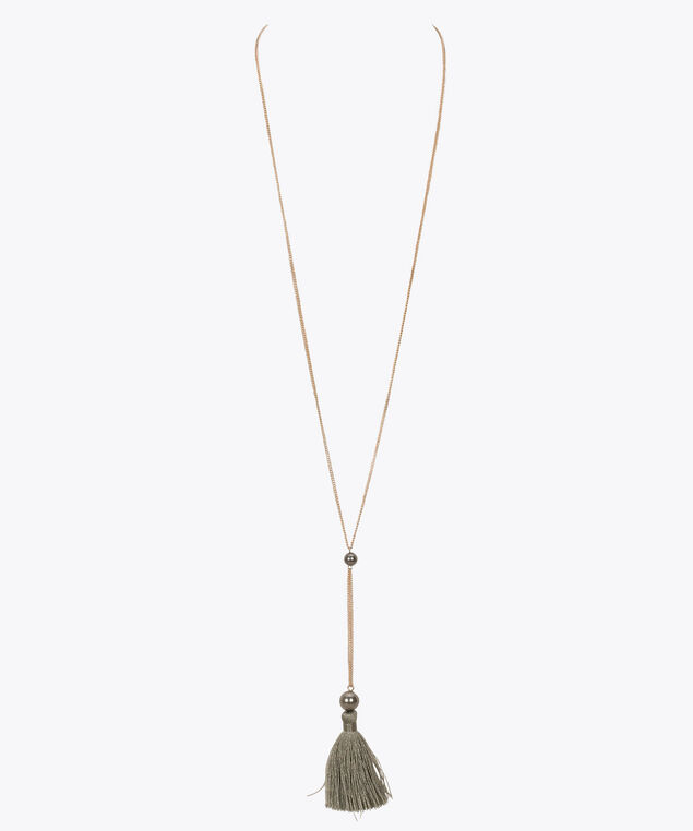 Pearl & Tassel Pendant Necklace, Rose Gold/Grey, hi-res
