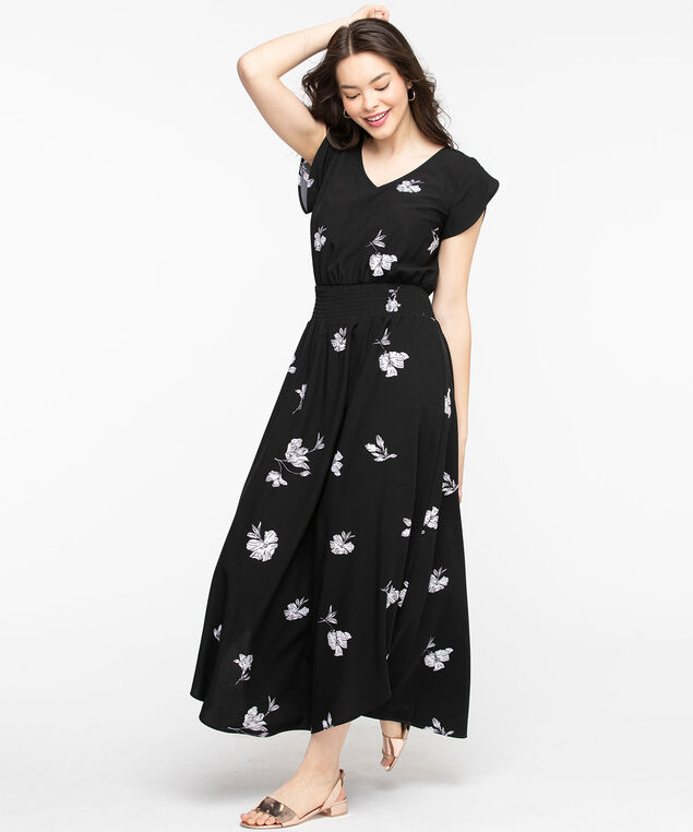 Tulip Sleeve V-Neck Long Dress, Black/White Floral
