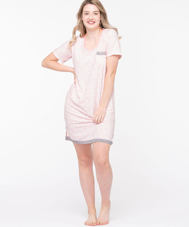 Short Sleeve Soft Nightdress, Blush Pink/Pearl/Grey, hi-res