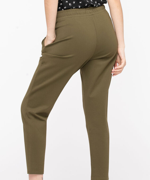 Ponte Drawstring Waist Pant, Olive Night