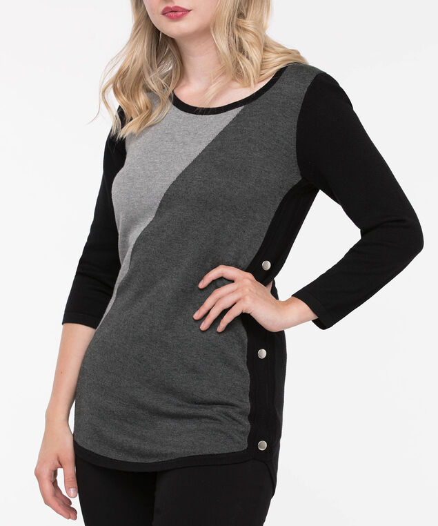 Button Trim Rounded Hem Pullover, Black/Grey, hi-res