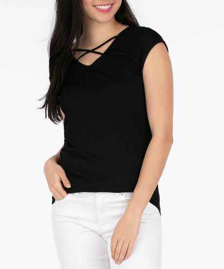 Cross Front Extended Sleeve Top, Black, hi-res