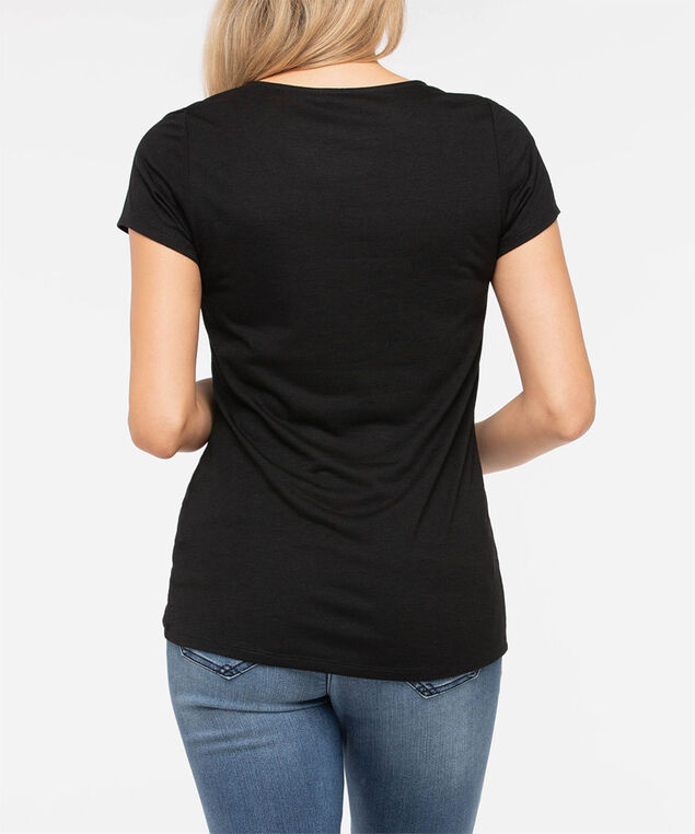Short Sleeve Knot Front Top, Black/Pumpkin/Marigold, hi-res