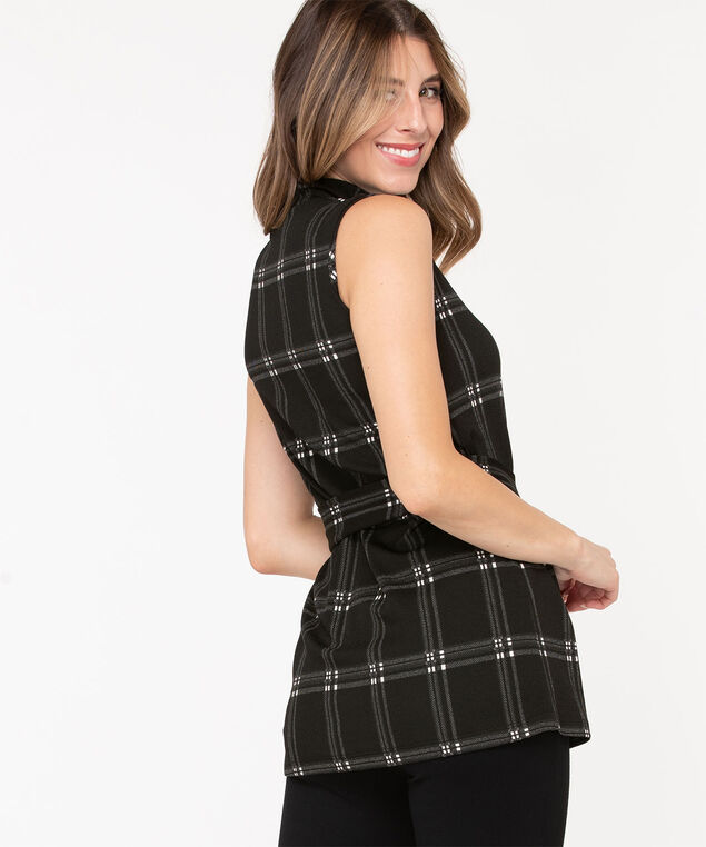 Plaid Sleeveless Tunic Top, Black/Grey/Pearl, hi-res