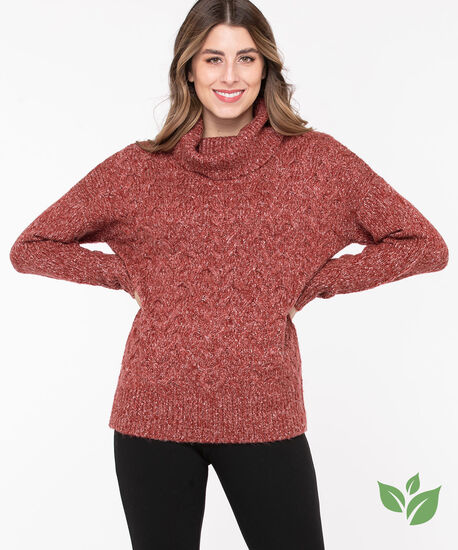 Eco-Friendly Cable Knit Sweater, Chili Pepper Mix, hi-res
