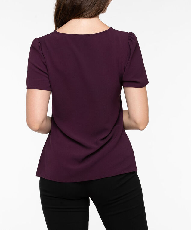 Short Sleeve V-Neck Blouse, Plum, hi-res