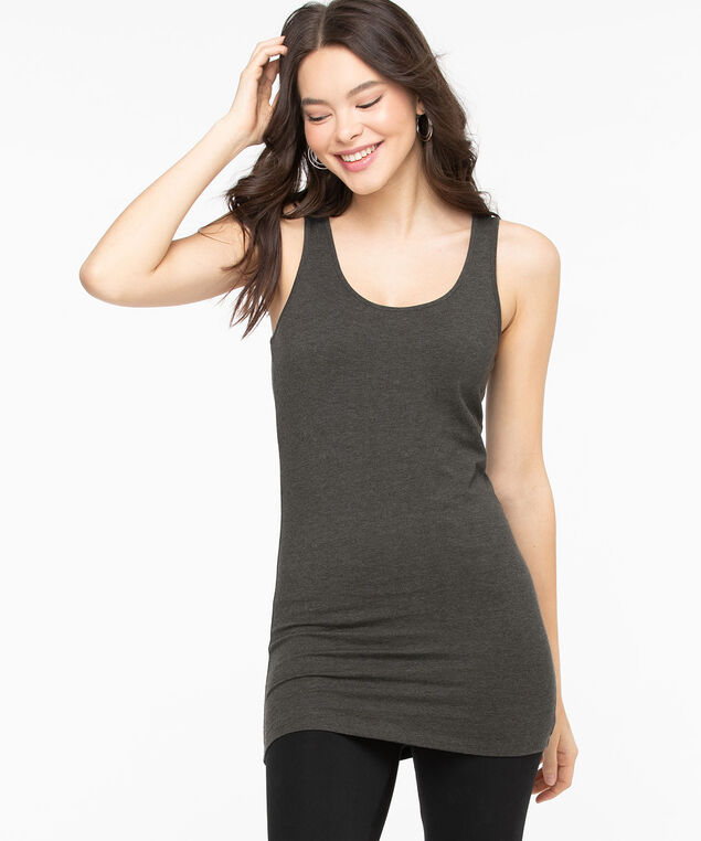 Tunic Length Cami, Charcoal