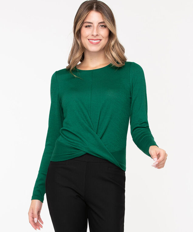 Twist Front Lightweight Knit Top, Emerald, hi-res