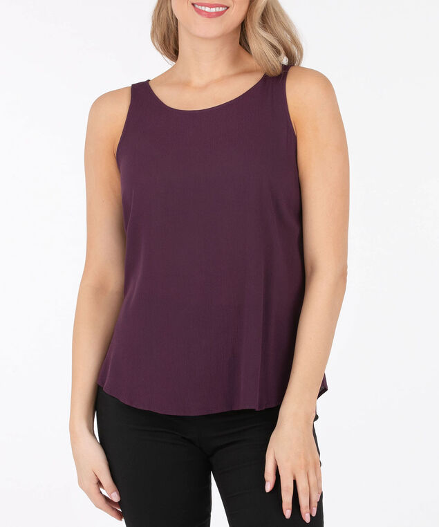 Sleeveless Open Bow Back Blouse, Plum, hi-res