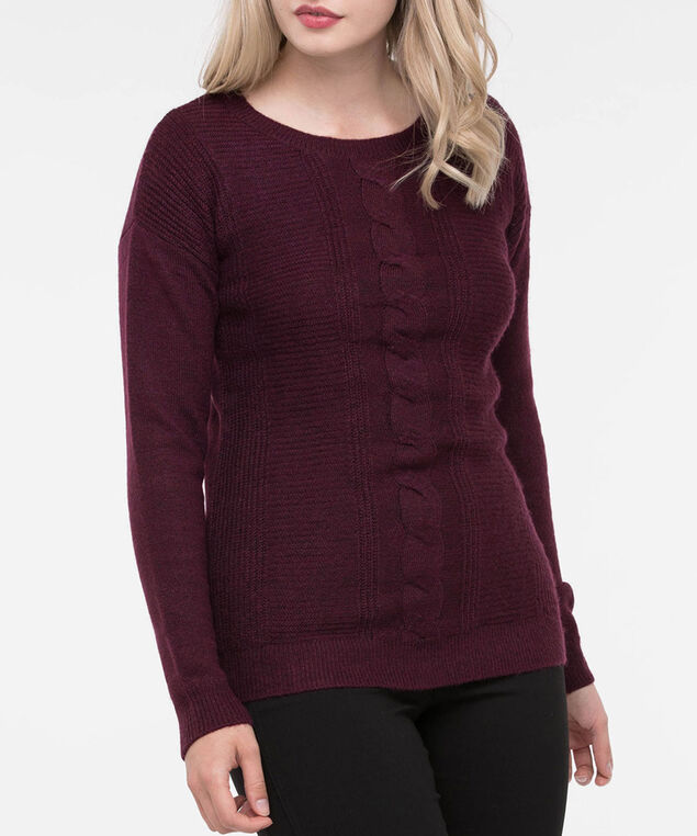 Cable Knit Scoop Neck Sweater, Burgundy, hi-res