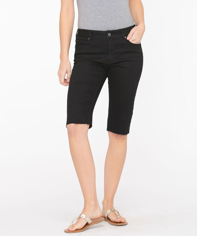 Frayed Hem Denim Bermuda Short, Black, hi-res