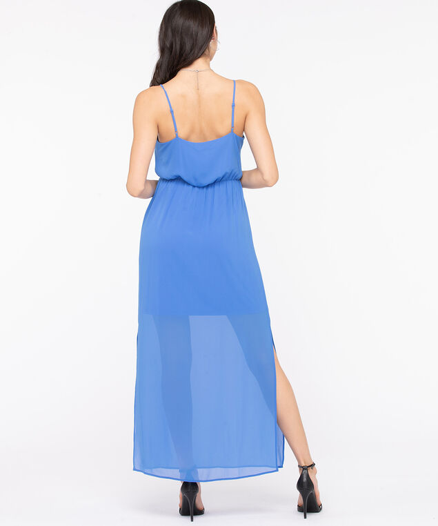 Strappy Side Slit Maxi Dress, Bijou Blue, hi-res