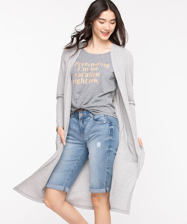Waffle Knit Duster Cardigan, Light Grey