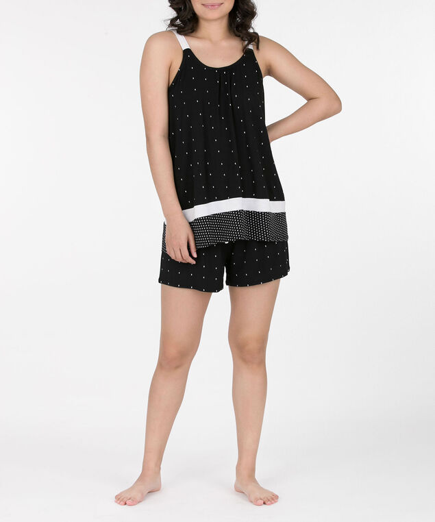 Shorty Pajama Set, Black/White, hi-res