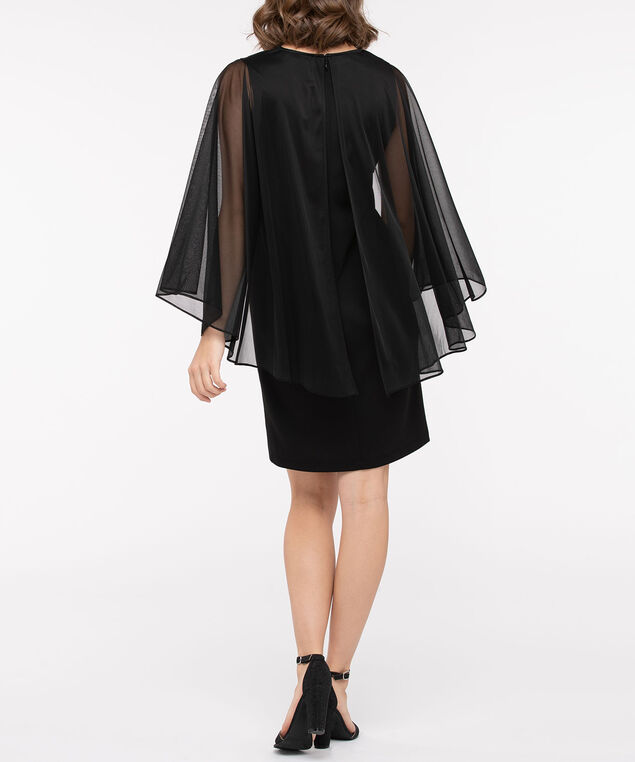 Sleeveless Sheath Capelet Overlay Dress, Black, hi-res