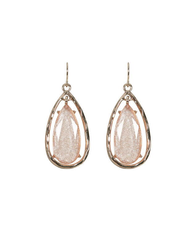 Hammered Metal & Stone Teardrop Earring, Pink/Soft Gold, hi-res