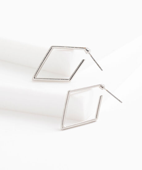 Silver Diamond Shaped Earring, Silver, hi-res