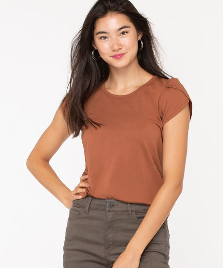 Petal Sleeve Scoop Neck Top, Rust, hi-res