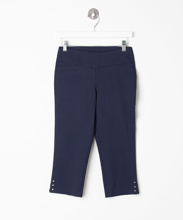 Silver Button Trim Microtwill Capris, Summer Navy, hi-res