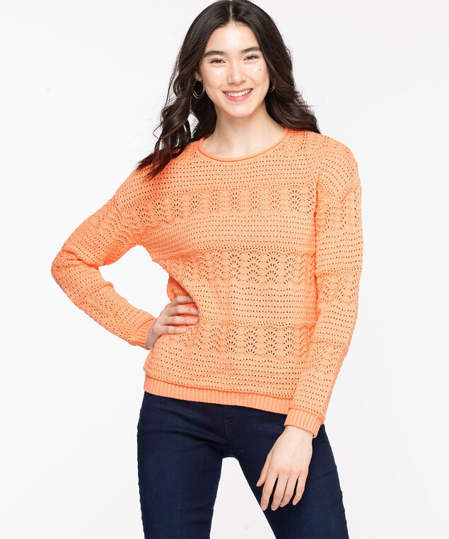 Cotton Pointelle Pullover Sweater, Coral Reef