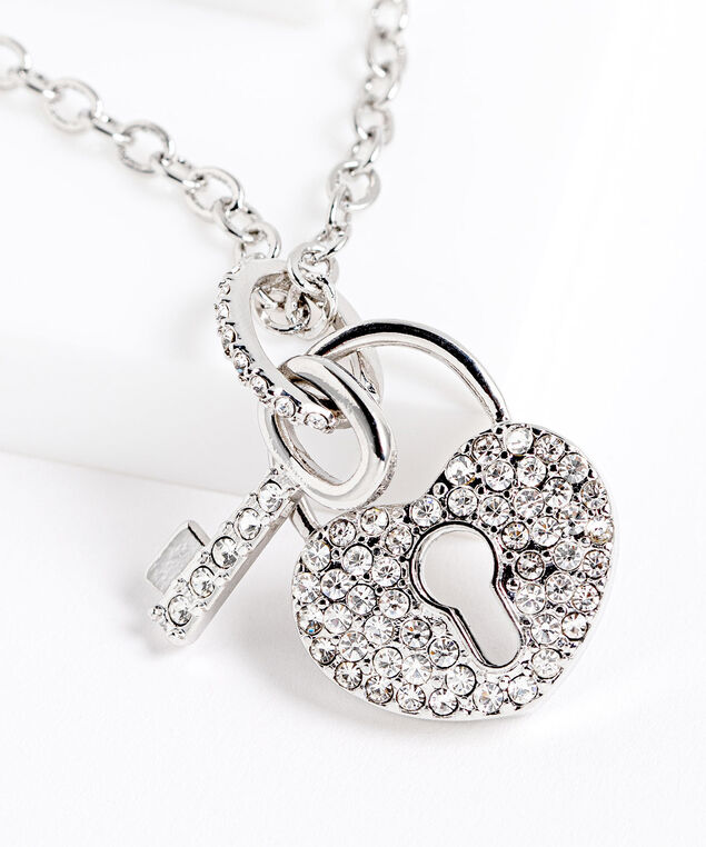 Heart Lock & Key Chainlink Necklace, Silver, hi-res