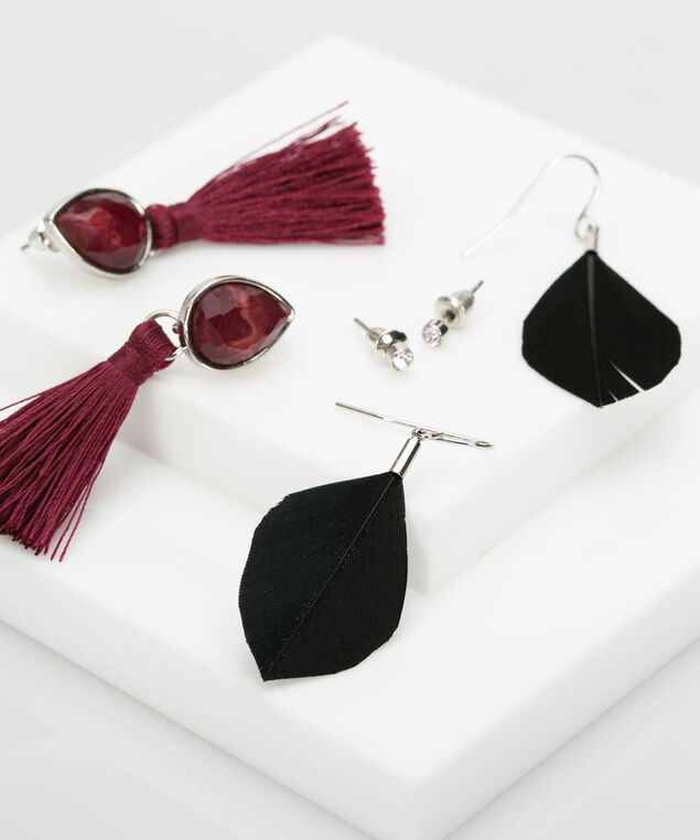 Earring Trio Set, Burgundy/Black/Rhodium, hi-res