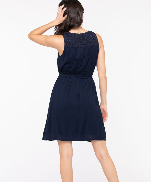 Sleeveless Crochet Trim Dress, Navy