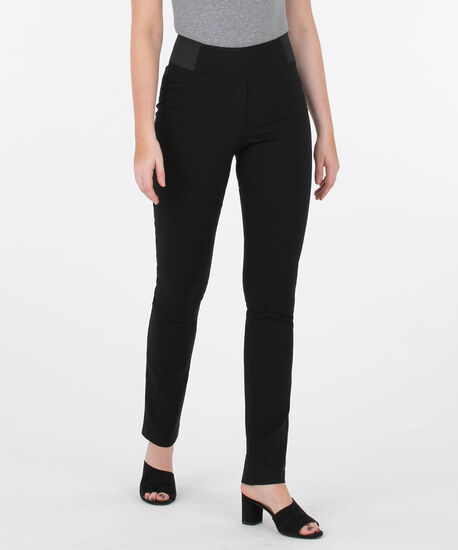 Microtwill Pull On Straight Leg, Black, hi-res