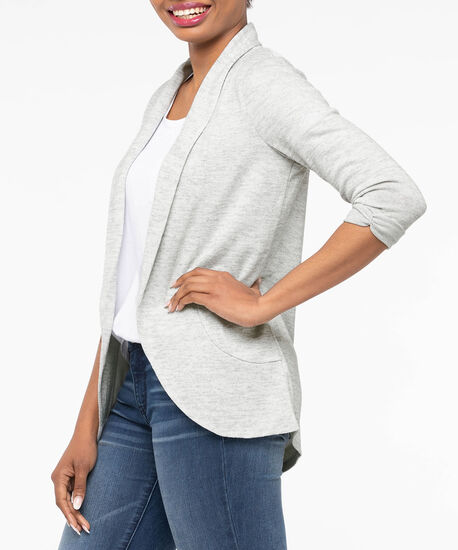 Lightweight Knit Shawl Collar Cardigan, Light Heather Grey, hi-res